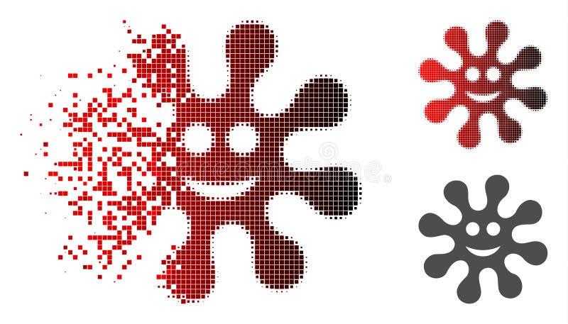 Icono de semitono fracturado del virus de la sonrisa del pixel stock de ilustración