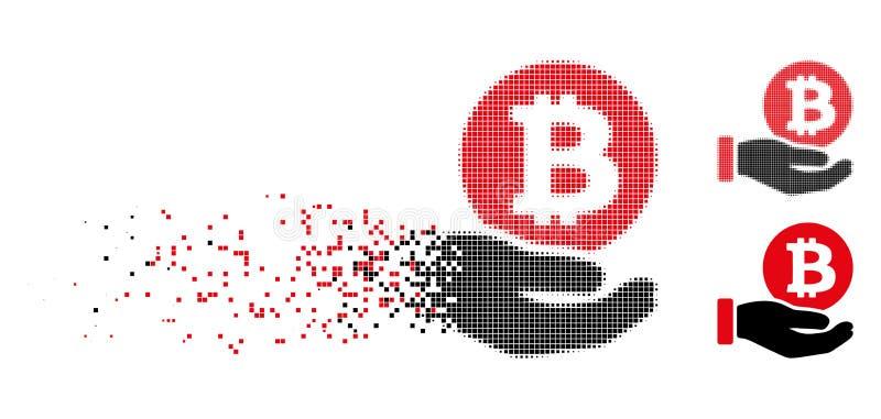 Icono de semitono fracturado de la mano del pago de la moneda de Bitcoin del pixel libre illustration