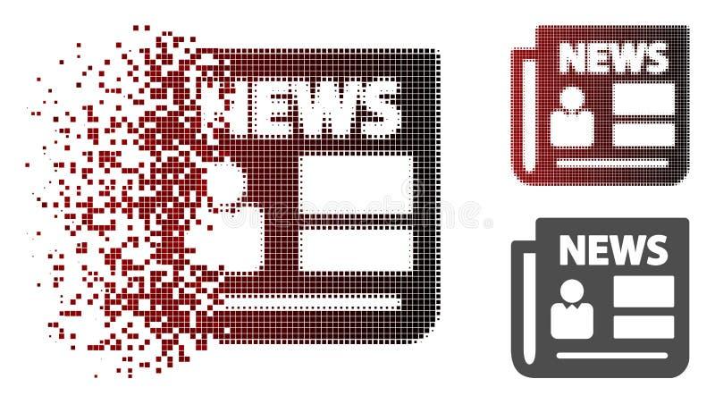 Icono de semitono fracturado de las noticias del pixel ilustración del vector