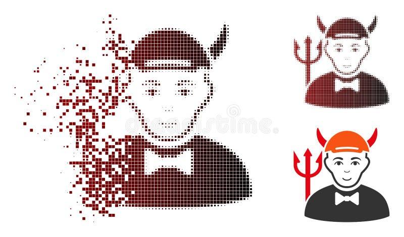 Icono de semitono hecho fragmentos del diablo del pixel stock de ilustración