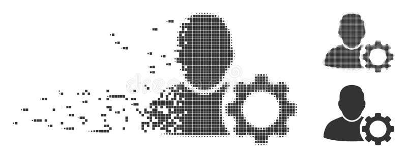 Icono de semitono hecho fragmentos del engranaje de las configuraciones del usuario del pixel ilustración del vector