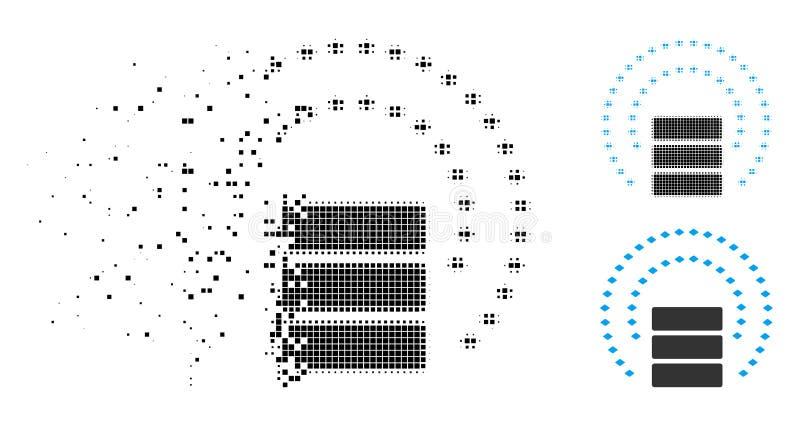 Icono de semitono hecho fragmentos del escudo de la esfera de la base de datos de Pixelated libre illustration