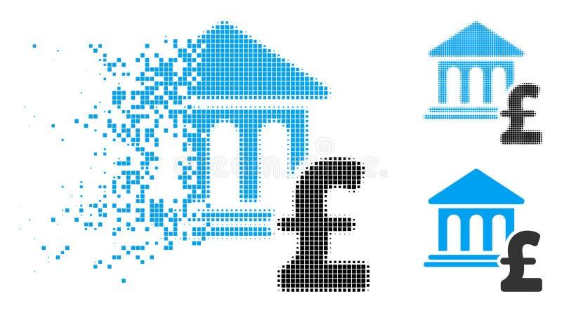 Icono de semitono hecho fragmentos del pago de la libra del museo del pixel stock de ilustración