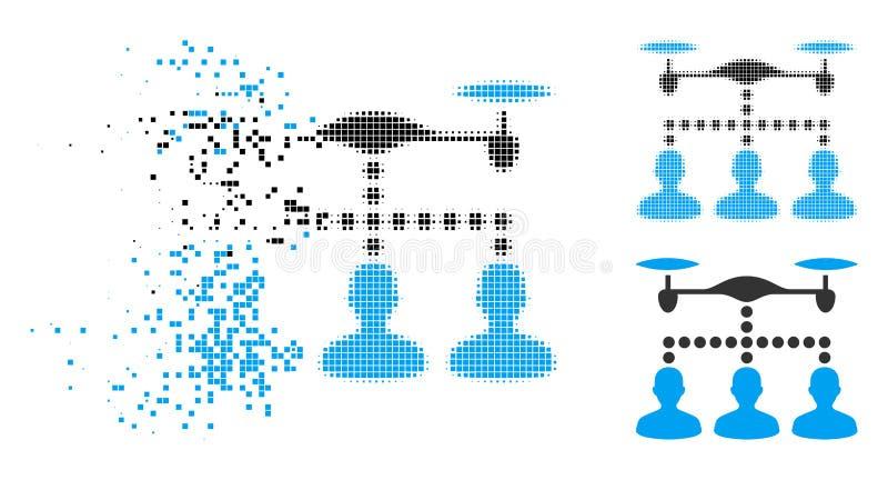Icono de semitono hecho fragmentos de la conexión de los clientes del abejón del pixel stock de ilustración