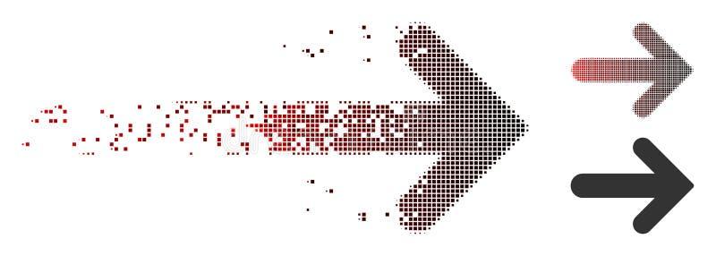 Icono de semitono hecho fragmentos de la derecha de la flecha del pixel libre illustration