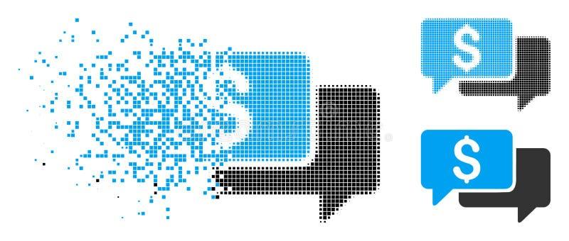 Icono de semitono hecho fragmentos de las ofertas de precio de Pixelated ilustración del vector