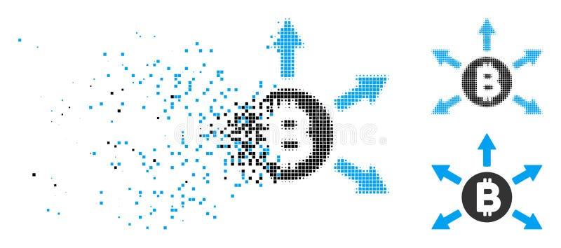 Icono de semitono de la emisión de Bitcoin del pixel del polvo stock de ilustración