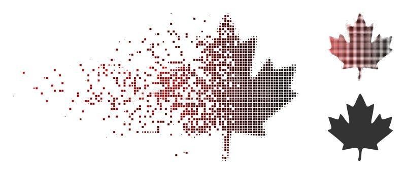 Icono de semitono de la hoja de arce del pixel del polvo stock de ilustración