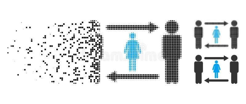 Icono de semitono de la muchacha del intercambio de los libertinos del pixel quebrado ilustración del vector