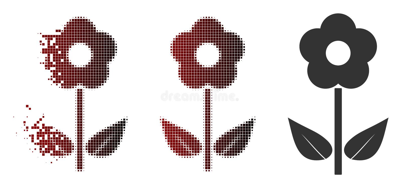 Icono de semitono de la planta de la flor del pixel de la chispa ilustración del vector