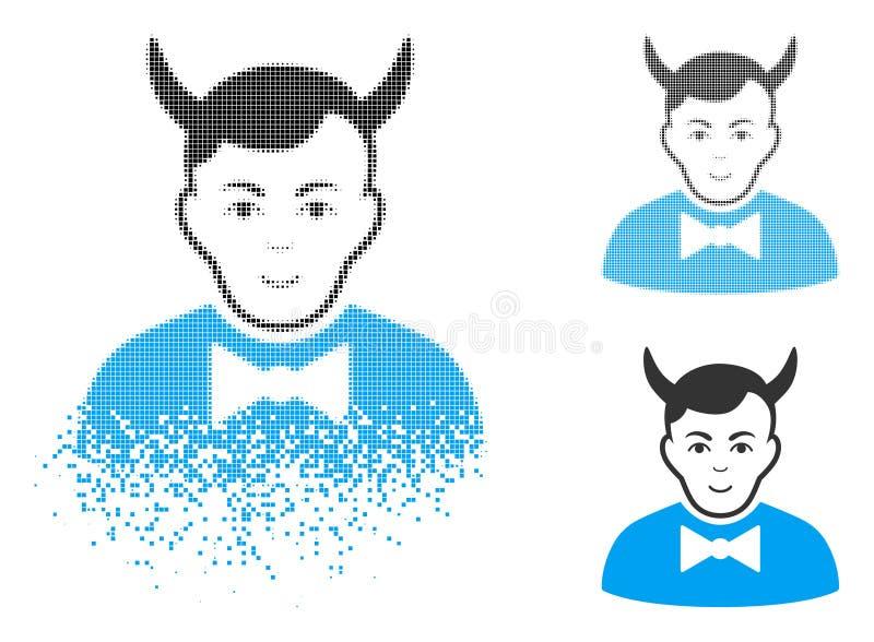 Icono de semitono de mudanza del diablo de Pixelated con la cara stock de ilustración