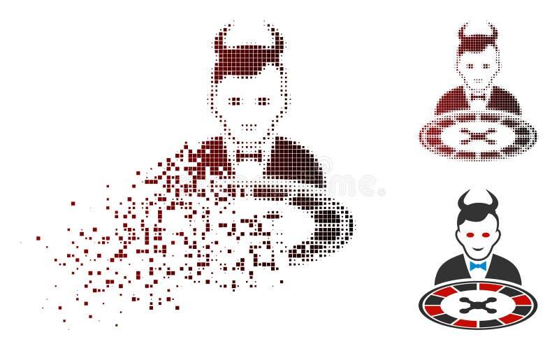 Icono de semitono de mudanza del distribuidor autorizado de la ruleta del diablo de Pixelated ilustración del vector