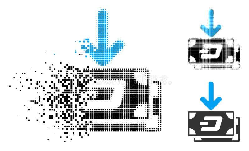 Icono de semitono de mudanza de la renta de los billetes de banco de la rociada de Pixelated libre illustration