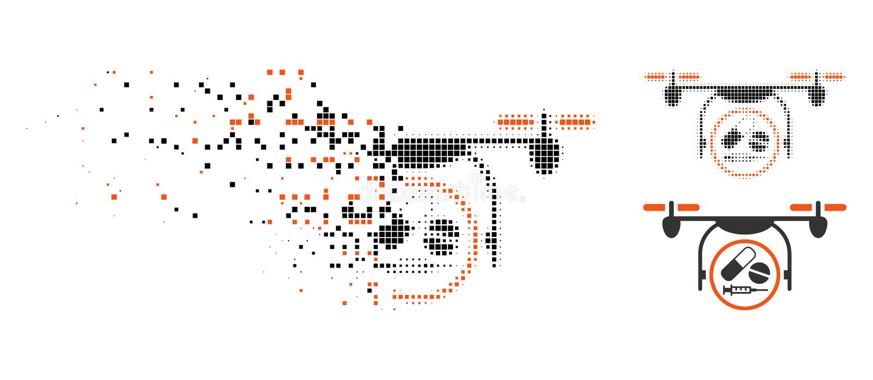 Icono de semitono de mudanza de Quadcopter de la medicación de Pixelated ilustración del vector