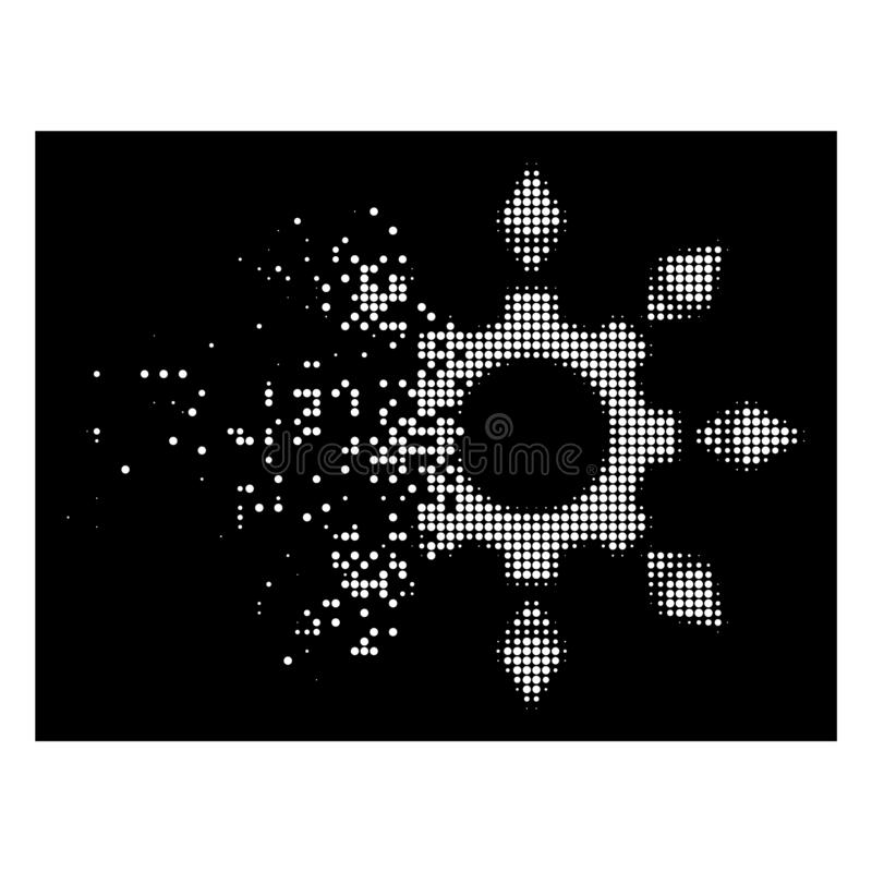 Icono de semitono punteado chispa brillante del engranaje de la configuración de Ethereum stock de ilustración