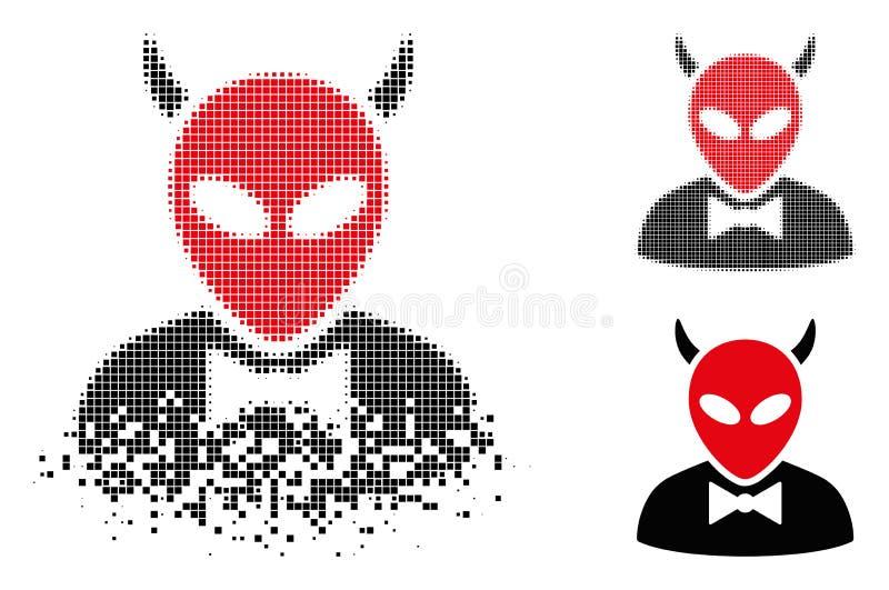 Icono de semitono punteado dañado del diablo stock de ilustración