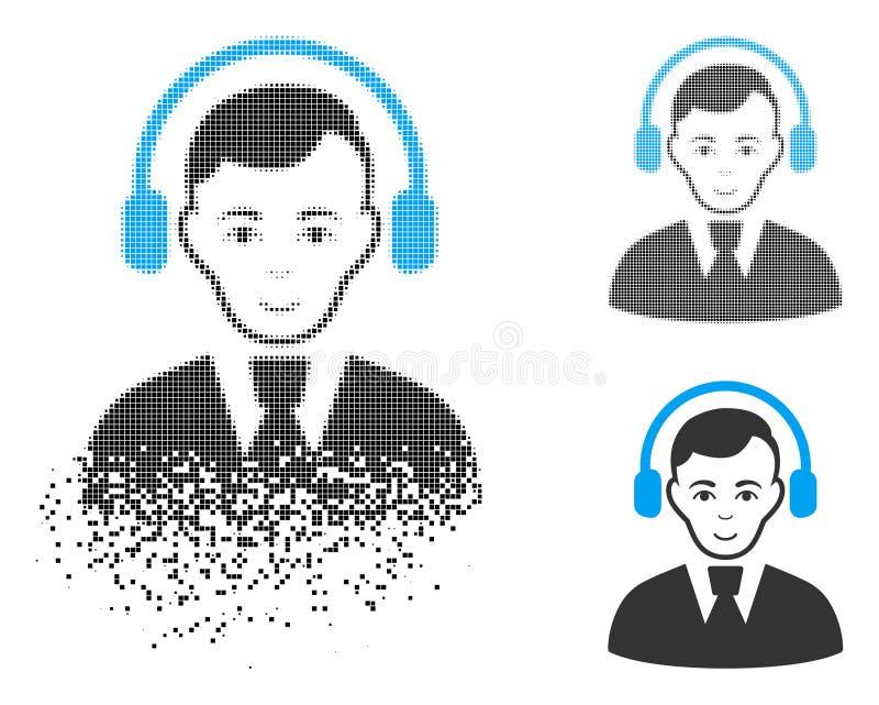 Icono de semitono punteado descompuesto del operador de radio con la cara stock de ilustración
