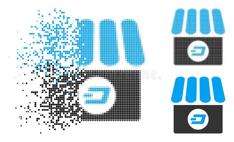 Icono de semitono punteado destrozado de la tienda de la rociada ilustración del vector
