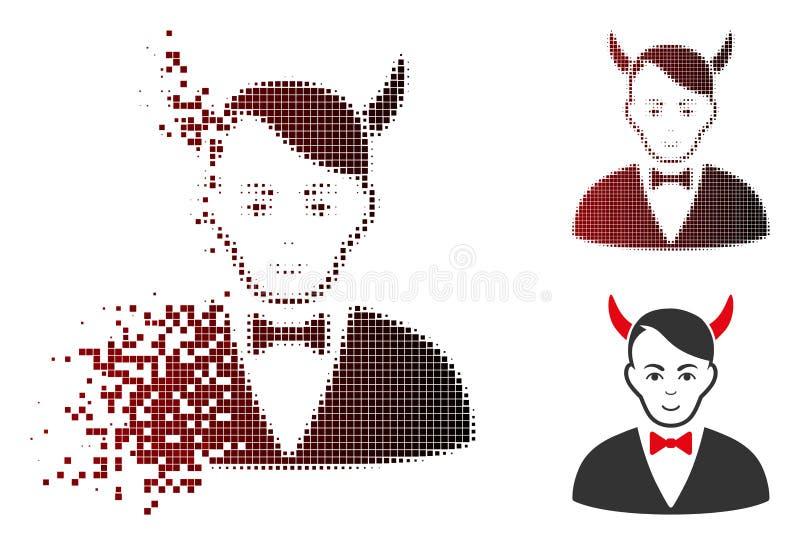 Icono de semitono punteado destrozado de Satanás con la cara ilustración del vector