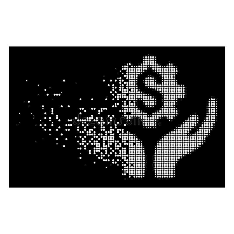 Icono de semitono punteado Destructed blanco del precio del mantenimiento libre illustration