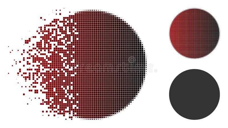 Icono de semitono punteado Destructed del círculo stock de ilustración