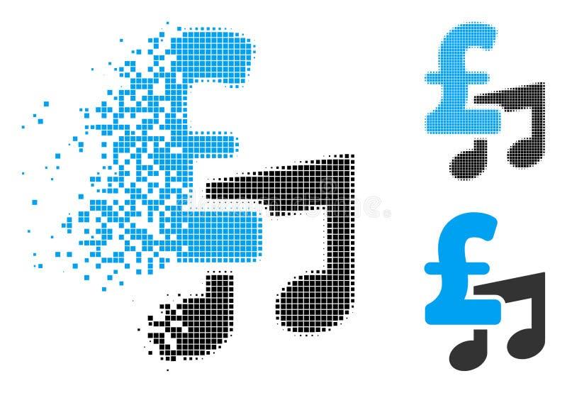 Icono de semitono punteado disipado del precio de la libra de la música ilustración del vector