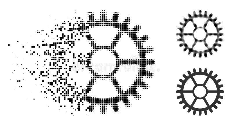 Icono de semitono punteado disipado de la rueda del reloj ilustración del vector