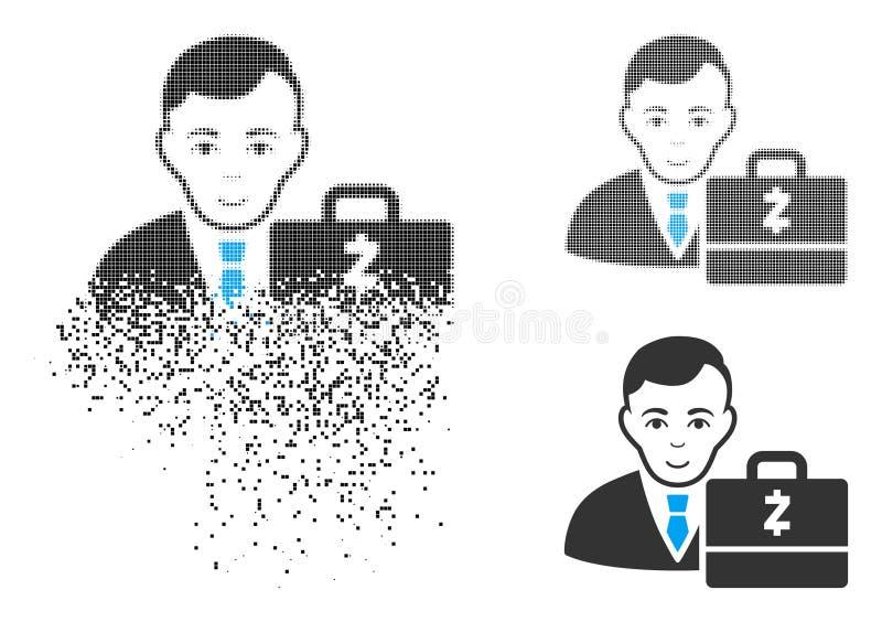 Icono de semitono punteado disipado de Zcash Accounter con la cara ilustración del vector