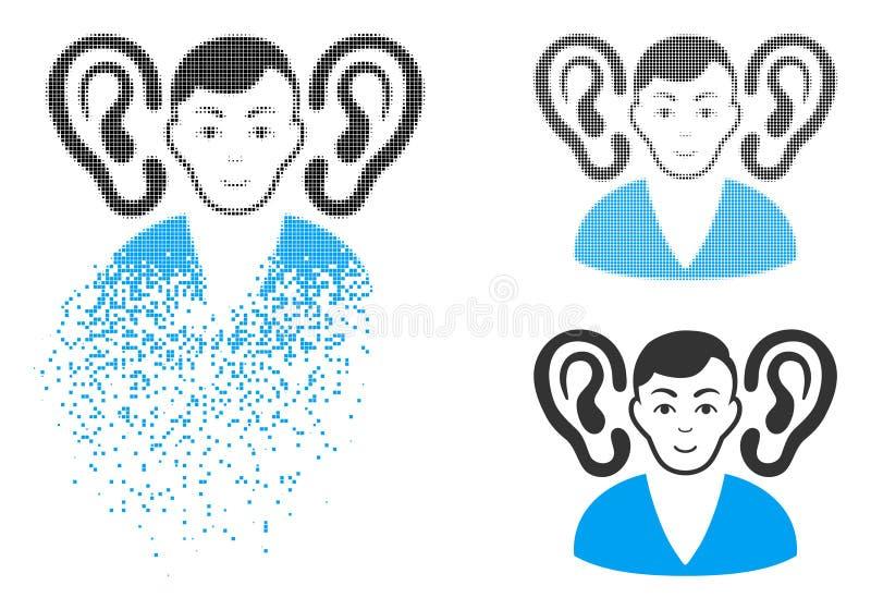 Icono de semitono punteado de disolución del oyente con la cara libre illustration