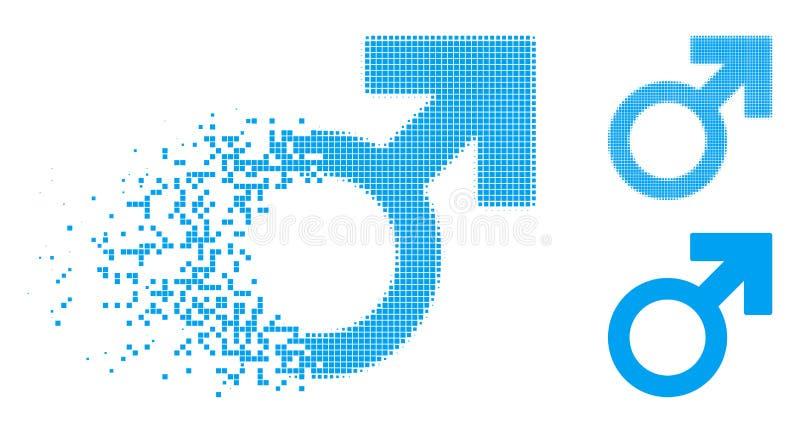 Icono de semitono punteado de disolución del símbolo de Marte libre illustration