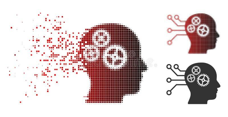 Icono de semitono punteado disuelto del circuito de interfaz del Cyborg stock de ilustración