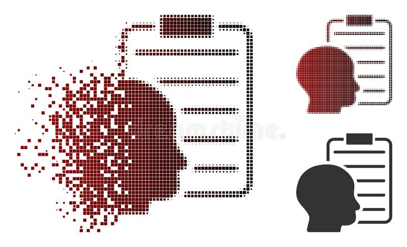 Icono de semitono punteado disuelto de la página del informe del usuario ilustración del vector