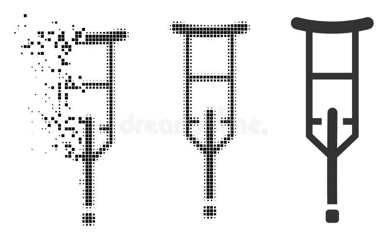 Icono de semitono punteado hecho fragmentos de la muleta libre illustration