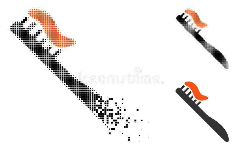 Icono de semitono punteado quebrado del cepillo de dientes stock de ilustración