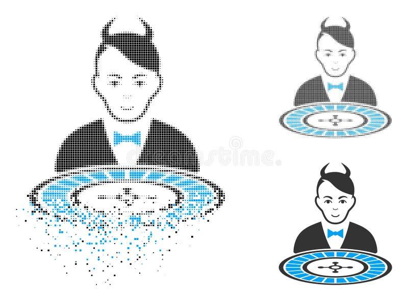 Icono de semitono punteado quebrado del distribuidor autorizado de la ruleta del diablo con la cara stock de ilustración
