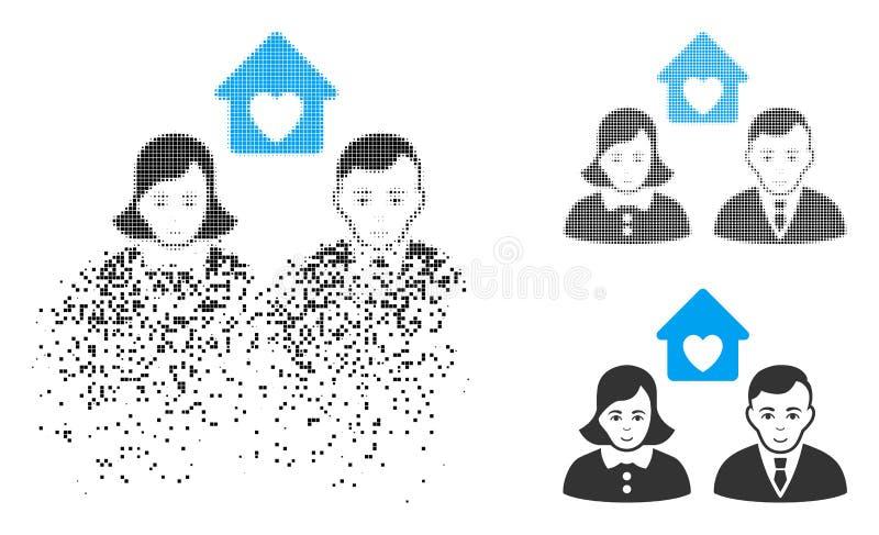 Icono de semitono punteado quebrado de la boda de la gente con la cara ilustración del vector