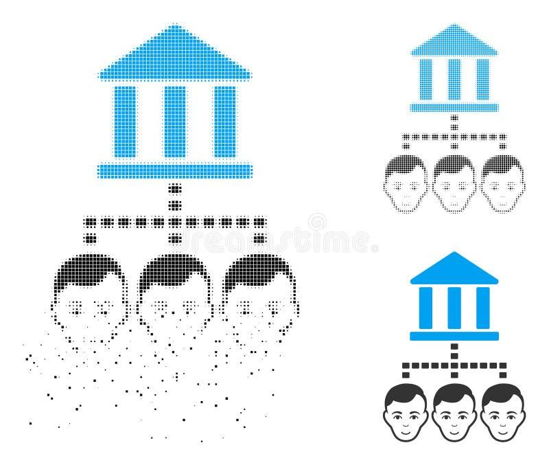 Icono de semitono punteado quebrado de los clientes del banco con la cara ilustración del vector