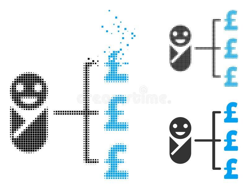 Icono de semitono punteado quebrado de los costos de la libra del bebé ilustración del vector