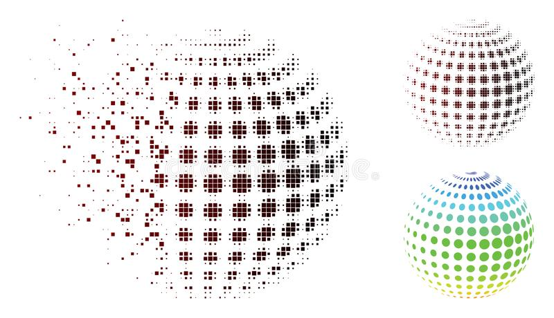 Icono de semitono punteado tono medio de la esfera del pixel del polvo stock de ilustración