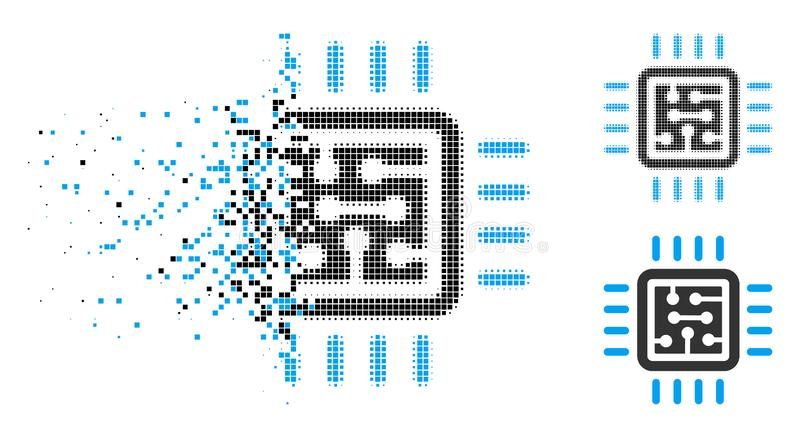 Icono de semitono quebrado del circuito de la CPU de Pixelated libre illustration
