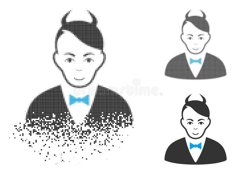 Icono de semitono quebrado del diablo de Pixelated con la cara libre illustration
