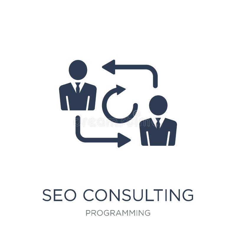 Icono de Seo Consulting Icono plano de moda de Seo Consulting del vector en w stock de ilustración