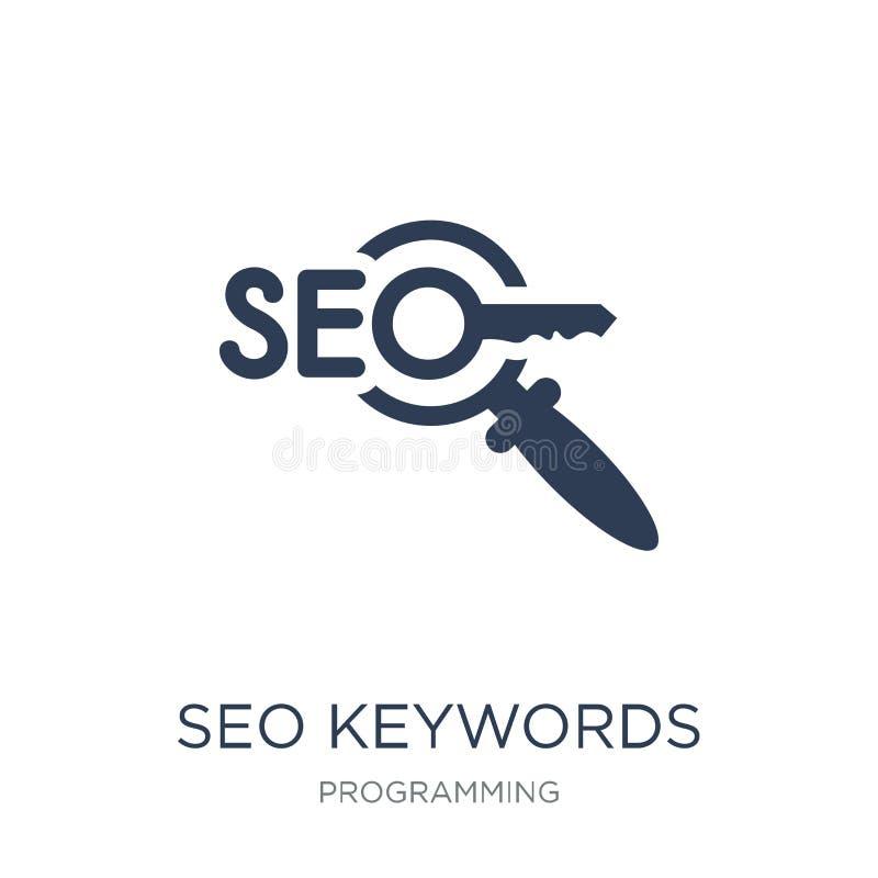 Icono de SEO Keywords Icono plano de moda de SEO Keywords del vector en blanco libre illustration