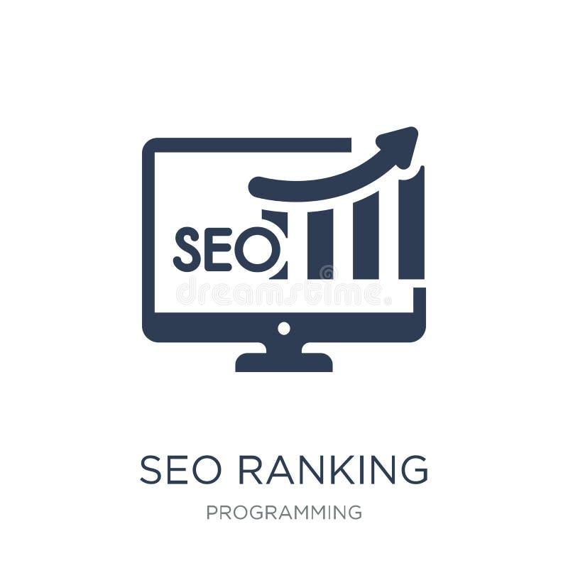 Icono de SEO Ranking Icono plano de moda de SEO Ranking del vector en b blanco libre illustration