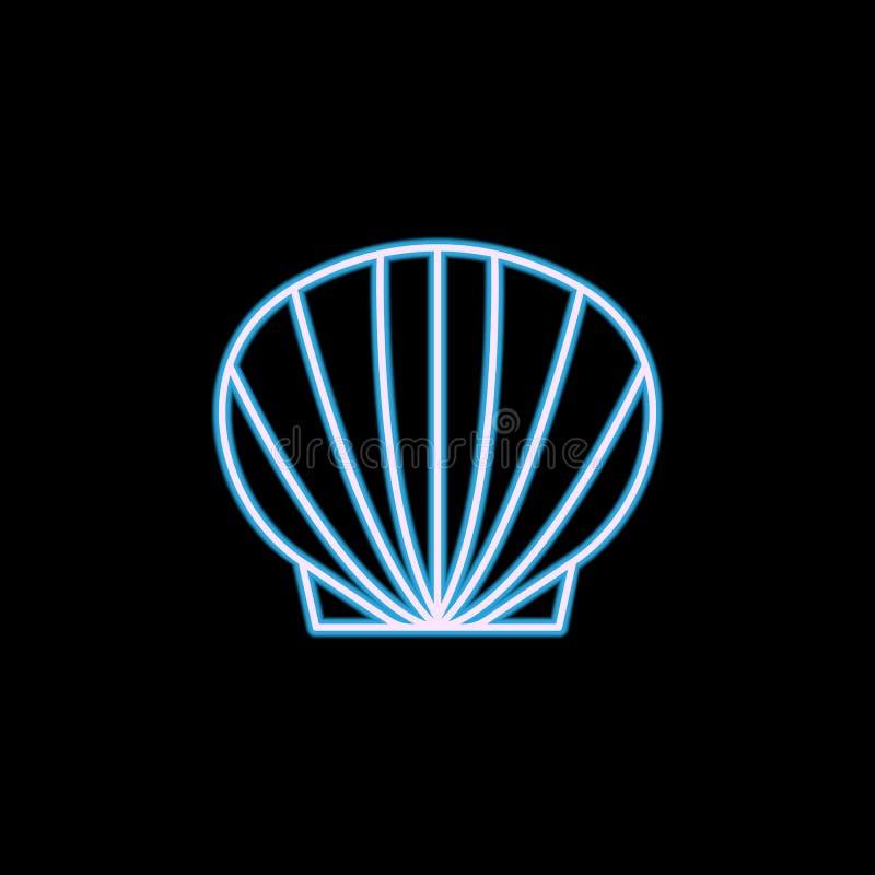 Icono de Shell del mar en el estilo de neón Uno del icono de la colección de los animales de mar se puede utilizar para UI, UX ilustración del vector