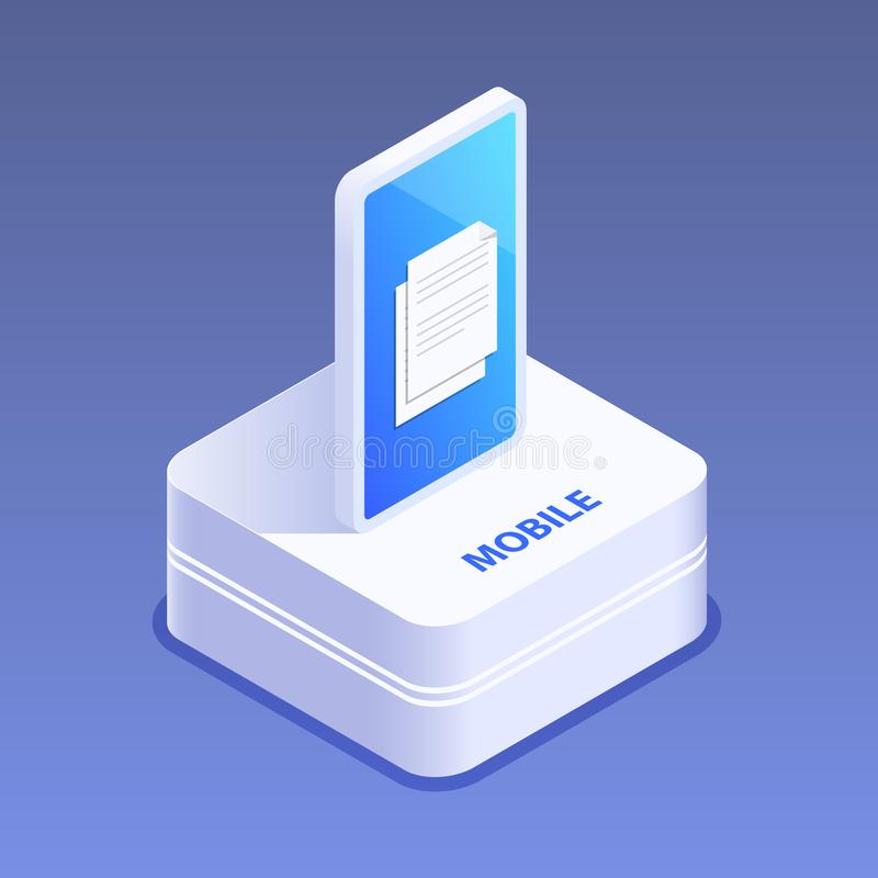 Icono de Smartphone 3d Artilugio de Digitaces El teléfono móvil de la pantalla táctil brilla intensamente Ejemplo isométrico plan ilustración del vector