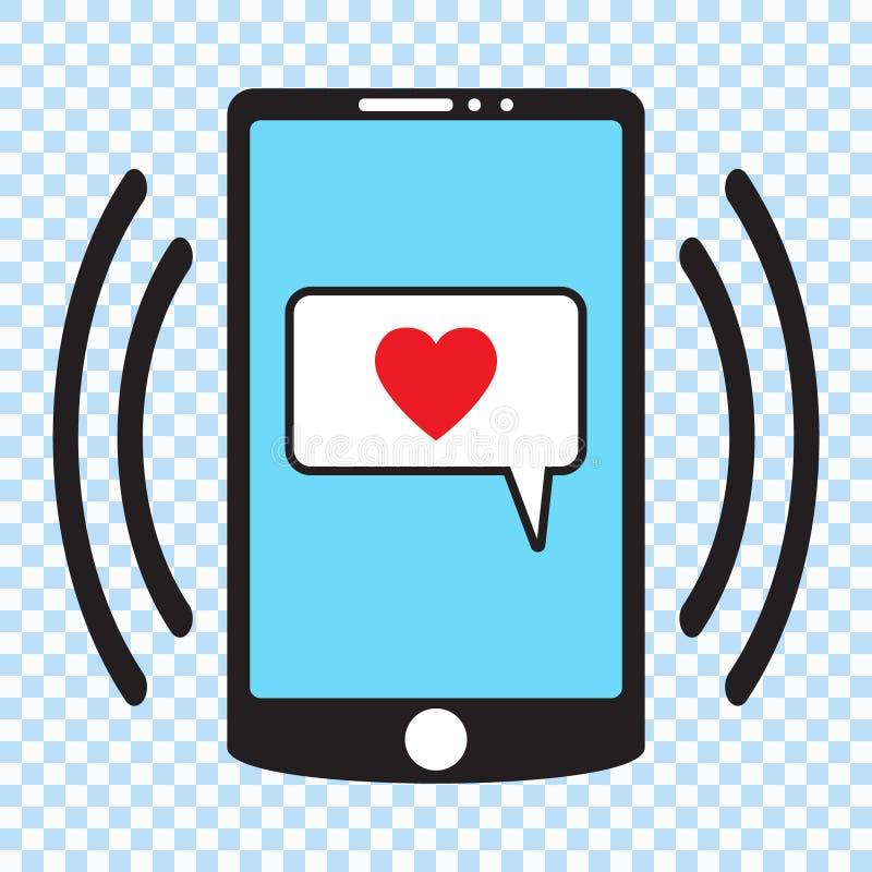 Icono de Smartphone, ejemplo del vector del teléfono móvil Smartphone con el corazón en una burbuja del discurso, un teléfono móv libre illustration