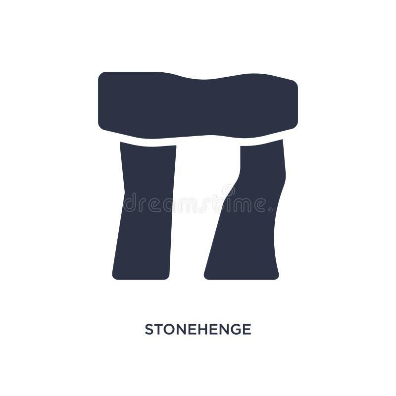 Icono de Stonehenge en el fondo blanco Ejemplo simple del elemento del concepto de la Edad de Piedra stock de ilustración