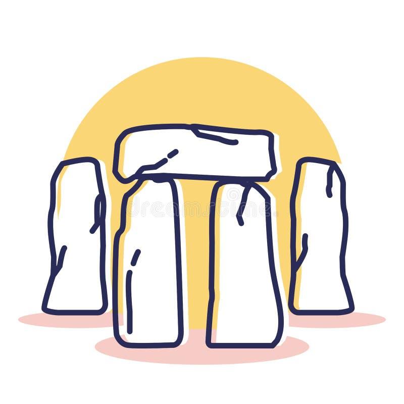 Icono de Stonehenge - viaje y destino stock de ilustración