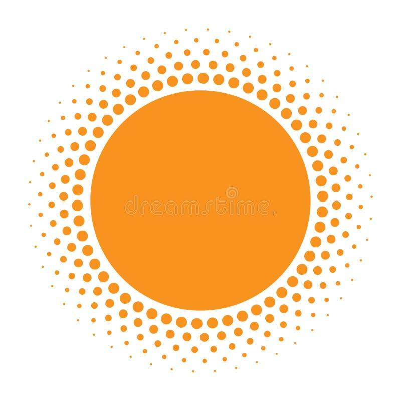 Icono de Sun Círculo anaranjado de semitono con el elemento del diseño del logotipo de los círculos de la textura de la pendiente ilustración del vector